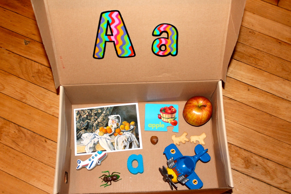 Toys That Start With B : Letter a alphabet box sensory tub teaching mama